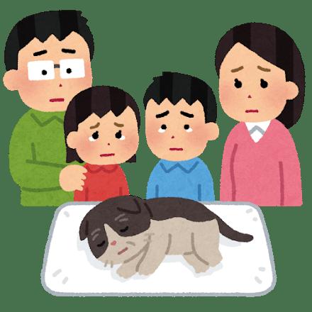 夫婦とその二人の子供が飼い猫の最期を看取ったイラスト