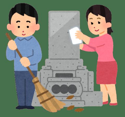 お墓の掃除をしている男女のイラスト