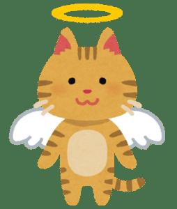 翼と天使の輪が付いた猫のイラスト