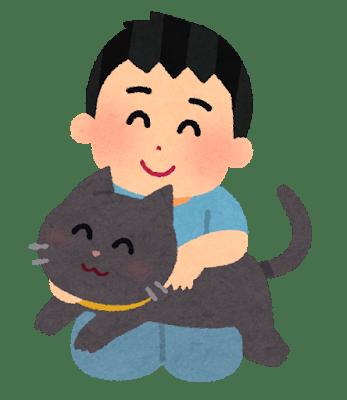 猫を抱いてうれしそうにしている男性とその猫