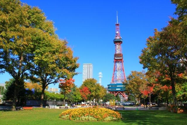 札幌市の中心的存在である大通り公園とその先にある札幌テレビ塔