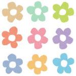 パステルカラーの花々のイラスト