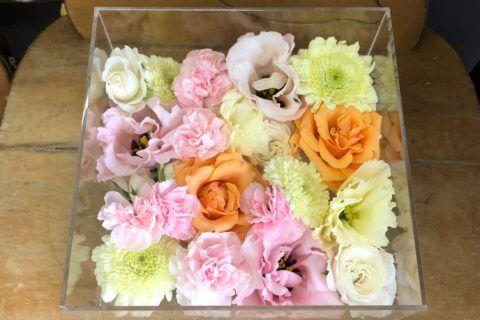 ケースに収められたペットとのお別れに使用する花々